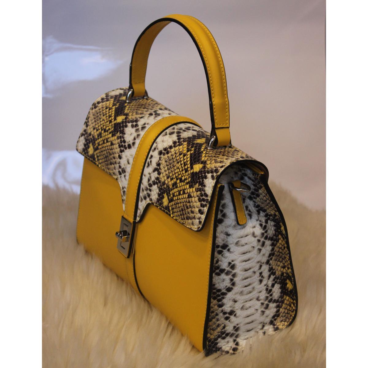 Angeli & Rebel's sac à main cuir véritable Athena jaune et python