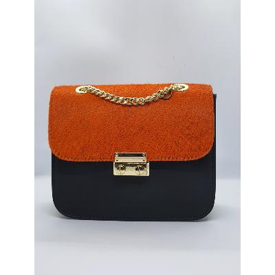 Angeli & Rebel's - sac à main cuir - Trivia orange et noir